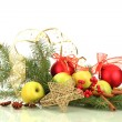 Beautiful christmas composition, isolated on white — Stock Photo