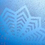 Snowflake pattern on window — Stock Photo