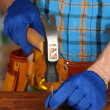 Stock Photo: Builder's hands hammering nail into wood