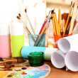 Foto Stock: Artistic equipment: paint, brushes and art palette