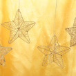New year stars on yellow shiny background - Stock Photo