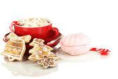 一起孤立在白色的圣诞甜蜜杯咖啡 — 图库照片