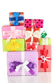 Hill colorful gifts isolated on white — Stock Photo