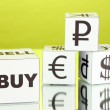 Forex. currency in the white dices on green background — Stock Photo