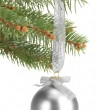 Christmas ball on fir tree, isolated on white — Stock Photo #18106155