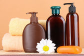 Conjunto para cuidar de um corpo no fundo pêssego — Fotografia Stock