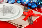 Serving Christmas table close-up — Stock Photo