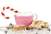 Cup of coffee with Christmas sweetness isolated on white — 图库照片