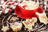 Cup of coffee with Christmas sweetness on plaid close-up — 图库照片