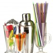 Stock Photo: Cocktail shaker and other bartender equipment isolated on white