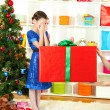 Christmas gift for little girl — Stok fotoğraf