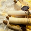 Stock Photo: Old scrolls, on brown paper background