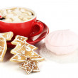 Cup of coffee with Christmas sweetness isolated on white — Stock Photo #18133545