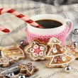 Cup of coffee with Christmas sweetness on plaid close-up — Stock Photo #18133557