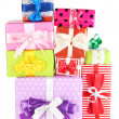 Hill colorful gifts isolated on white — Stock Photo #18133619