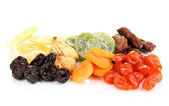 Dried fruits isolated on white — Stock Photo