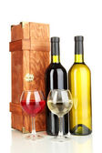 Wooden case with wine bottles isolated on white — Stock Photo