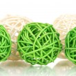 Stock Photo: Wicker bamboo balls isolated on white
