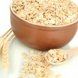 Brown bowl full of oat flakes with spikelets and wooden spoon isolated on white — Stock Photo #18169663