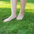 Stock Photo: Legs walking on green lawn