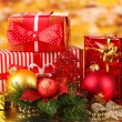 Christmas decoration on red background — Stockfoto