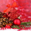 Christmas decoration on red background - Stok fotoğraf