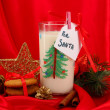 Cookies for Santa: Conceptual image of ginger cookies, milk and christmas decoration on red background — Stock Photo #18169909