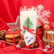 Cookies for Santa: Conceptual image of ginger cookies, milk and christmas decoration on red background — Stock Photo #18169911
