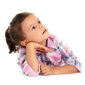 Beautiful little girl isolated on white — Stock Photo