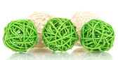 Wicker bamboo balls isolated on white — Stock Photo