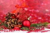 Christmas decoration on red background — Stock fotografie
