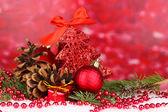 Christmas decoration on red background — Fotografia Stock