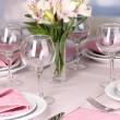 Elegant table setting in restaurant — Stock Photo #18170007
