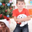 Little boy sits near Christmas tree with gift in hands — Stock Photo #18170055