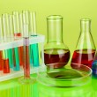 Stock Photo: Test-tubes and green leaf tested in petri dish, on color background