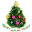 Decorated artificial Christmas Tree isolated on white — Stock Photo