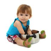 砂锅,孤立在白色的可爱小男孩 — 图库照片