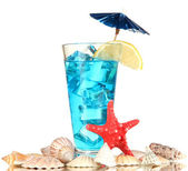 Blue Lagoon cocktail isolated on white — Stock Photo