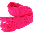 Warm knitted scarf pink isolated on white — Stock Photo #18273745