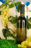 A bottle of wine on the fence background close-up — Stock Photo