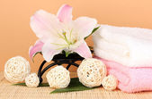 Beautiful spa setting on beige background — Stock Photo