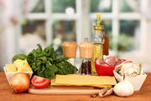 Lasagna ingredients on bright background — Stock Photo