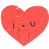 Puzzles en forme de coeur avec des mots que j'ai — Photo