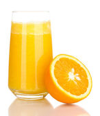 Glass of fresh orange juice isolated on white — Stock Photo