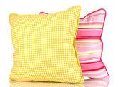 Cuscini luminosi gialli e rosa, isolate su bianco — Foto Stock