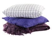 Cuscini colorati collina, isolati su bianco — Foto Stock