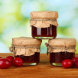 Jars of jam from the cornel on green background close-up — Stock Photo #18292043