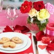 Table setting in honor of Valentine's Day on room background — Foto Stock