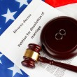 Divorce decree and wooden gavel on american flag background — Stock Photo #18292289