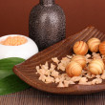 Aromatherapy setting on brown background — Stock Photo #18292619